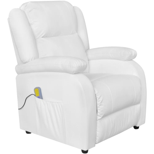 White Faux Leather Chair Electric Massage Chair TV