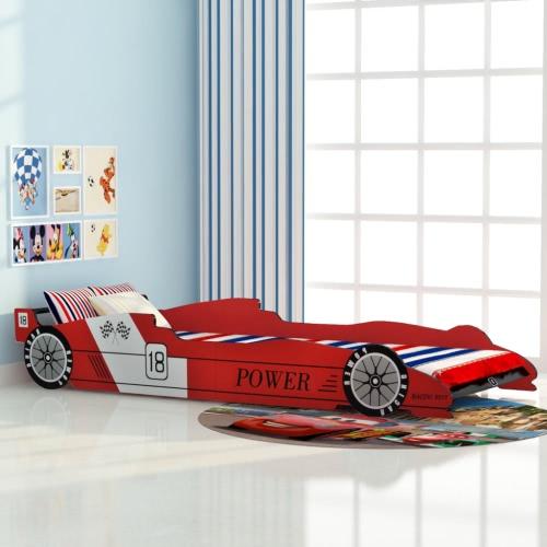 cuna del coche de carreras de 90x200 cm rojo