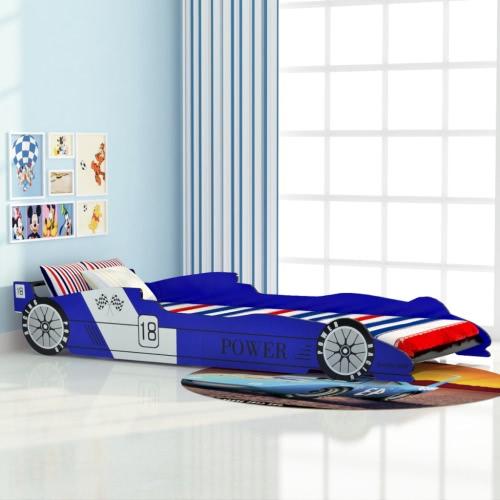 cuna carrera de coches de 90x200 cm Azul