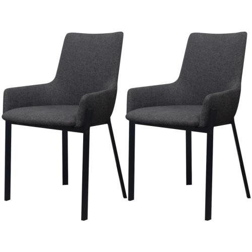 sedie 2 stk tessuto grigio scuro