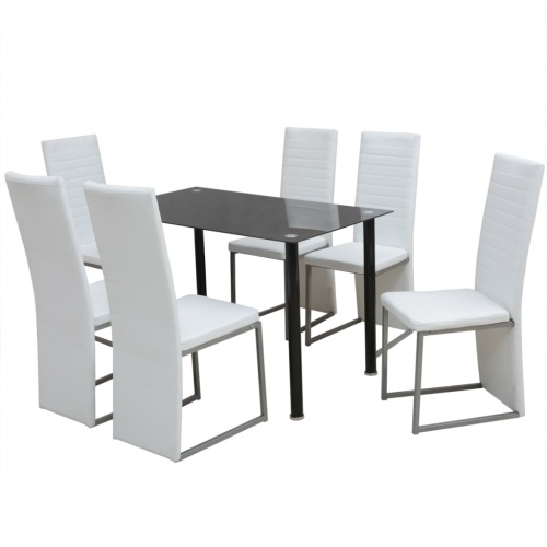 7 pcs. Dining suite White and Black