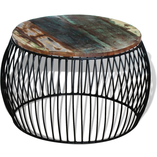 Coffee Table Round Solid Reclaimed Wood 68x43 cm