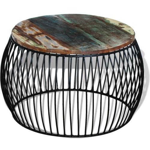 Журнальный столик Круглый твердый восстановленный лес 68x43 см