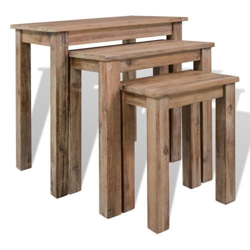 Three Piece Nesting Table Set Solid Acacia Wood