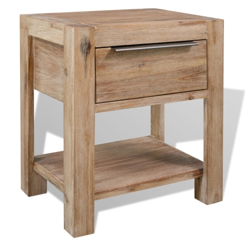 Nightstand Solid Acacia Wood 40x30x48 cm