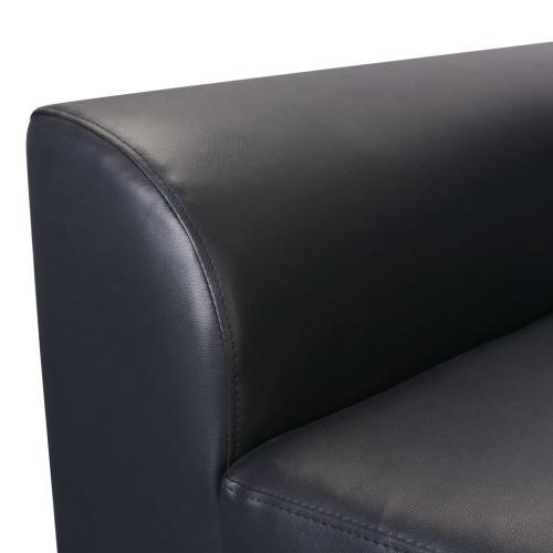 Sofá-cama imitação de couro preto