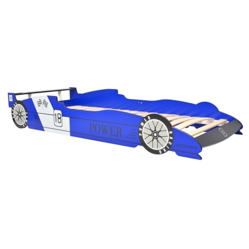 Cot with LED in racing car design 90 x 200 cm Blue