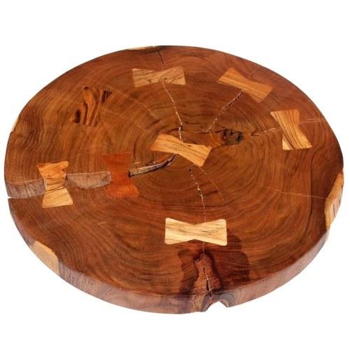 Mesa de centro con madera de acacia maciza (55-60) x 40 cm