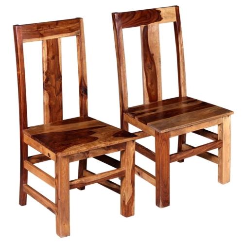 Sedie da pranzo 2 pezzi in legno massello di Sheesham