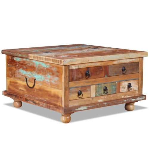 コーヒーテーブル古い木70 x 70 x 38 cm