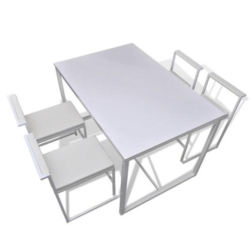 5-секционный обеденный стол + 4 стула белый