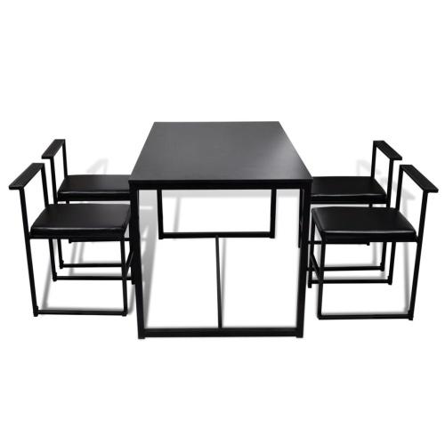 5-секционный обеденный стол + 4 стула Черный