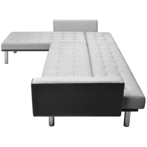 Sofá de canto de tecido 218 x 155 x 69 cm Preto e cinza
