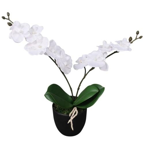 Искусственная орхидея с горшком 30 см белого цвета