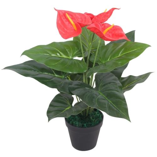 Künstliche Anthurium Pflanze mit Topf 45 cm rot und gelb