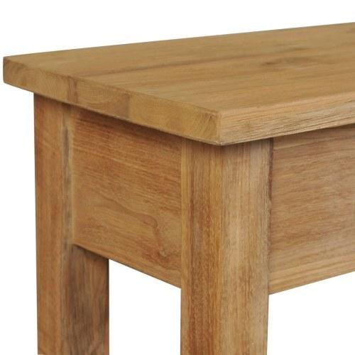 Mesa de console de teca de madeira maciça 120 × 30 × 80 cm