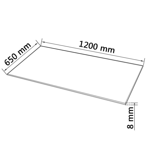 Tapa de vidrio templado Rectangular 1200 x 650 mm