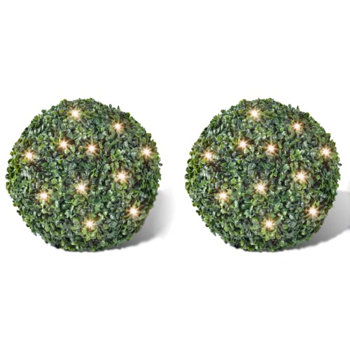Artificial Leaf Topiary Ball 27 cm Solar LED String 2 pcs