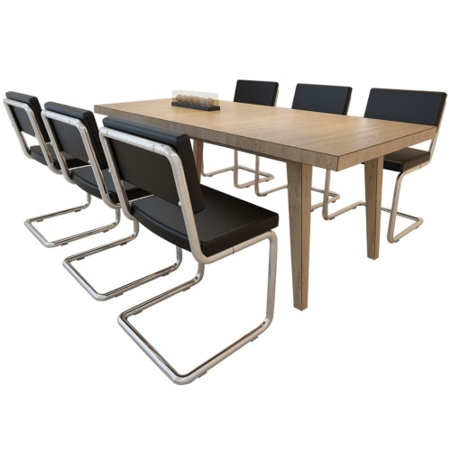 6x silla de comedor comedor Silla de comedor de cuero sintético negro