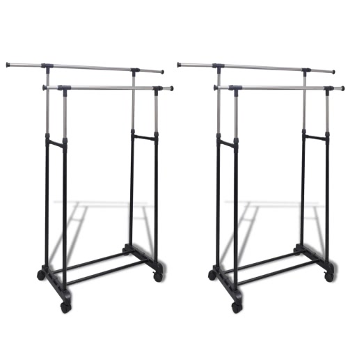 2 pcs Adjustable Clothes Rack 2 Hanging Rails