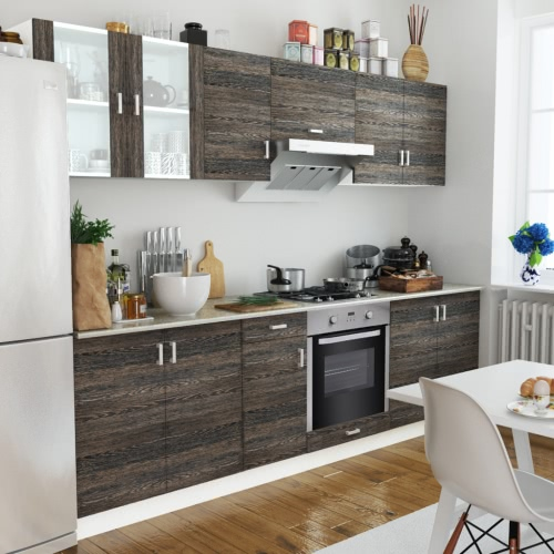 Wenge Look Kitchen Cabinet Unit with Built-in Oven 8 Functions