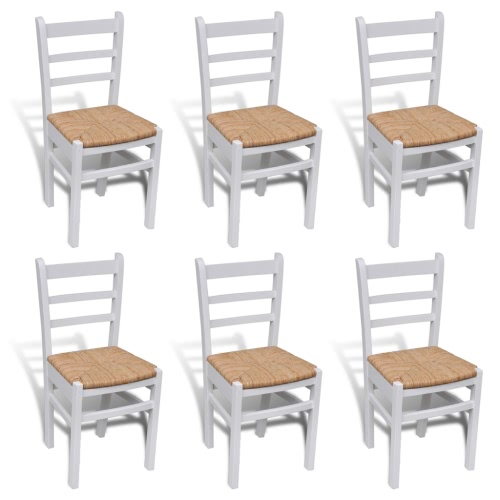 6 pcs White Paint Wooden Dinning Chair