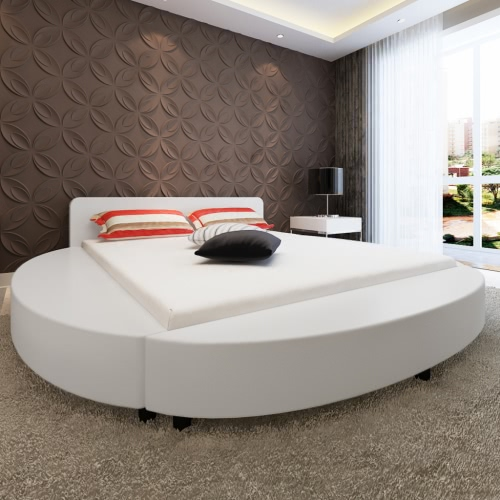 Cuero artificial Cama redonda de 180 cm con colchón blanco
