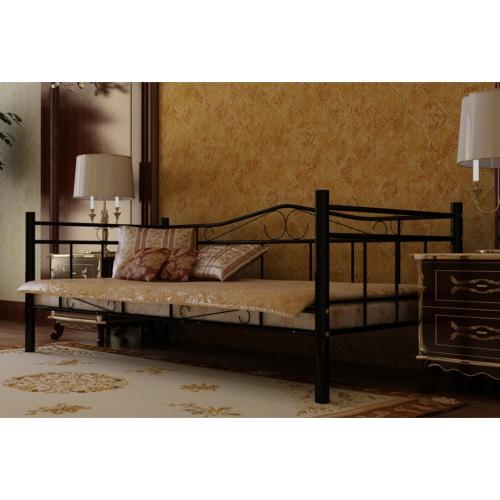 cama metal negro de 90 x 200 cm con colchón