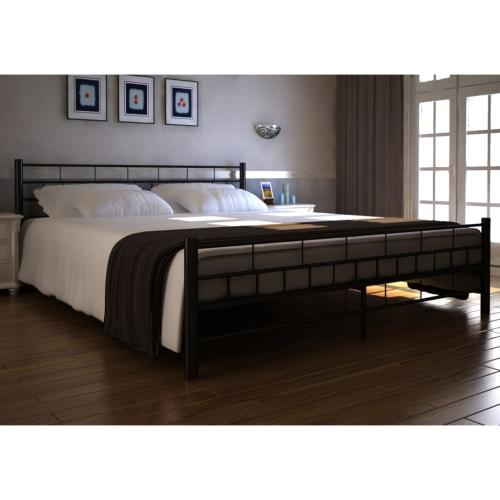 cama metal negro 140 x 200 cm con colchón