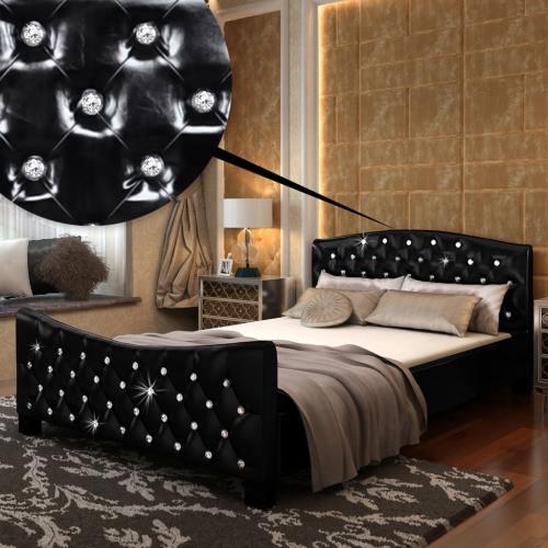 Cama de cuero artificial cristales negros Acrílicos y colchón de 140 cm