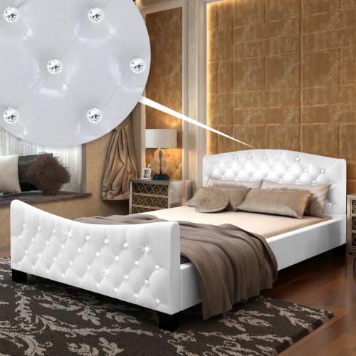 Cama de cuero artificial Cristales blancos acrílicos y colchón de 140 cm