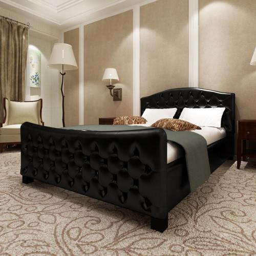 Cama de lujo del cuero artificial Negro con colchón de 140 x 200 cm