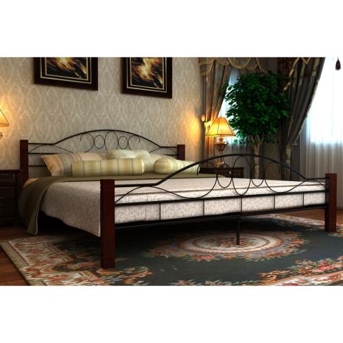 Cama de metal Negro y Rojo Brucciato con colchón de 180 cm