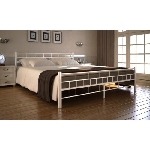 cama metal blanco con colchón de 200 x 140 cm
