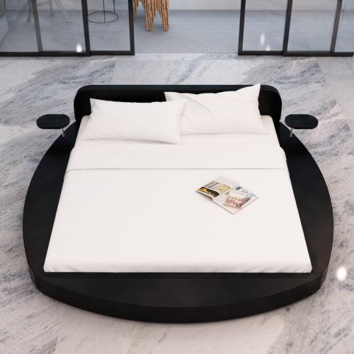 Cama redonda de cuero artificial Negro 2 Los comprimidos y 180 cm Colchón