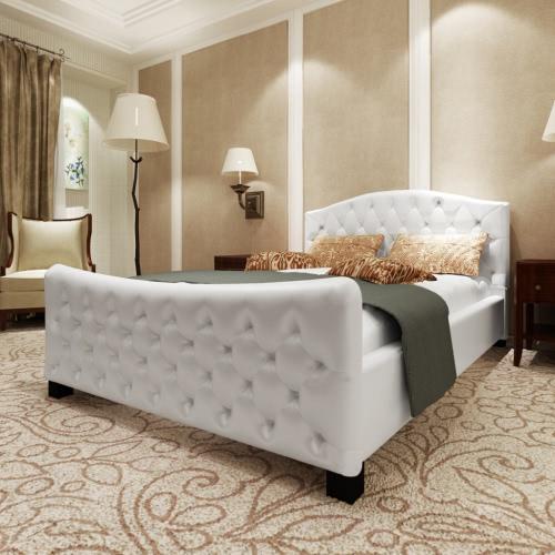 De cuero de lujo del dormitorio artificial blanca con colchón de 140 x 200 cm