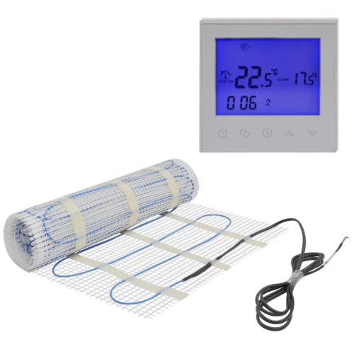 6m² Underfloor Heating Mat 200W/m² Twin with Touch-screen Thermostat