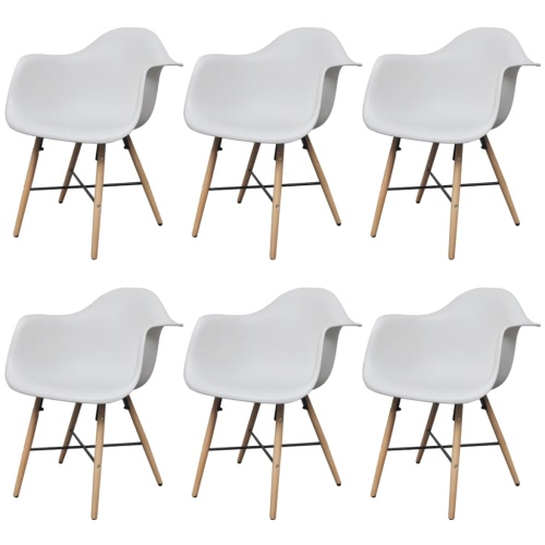 6 pcs White Dining Chair with Armrests and Beech Wood Legs