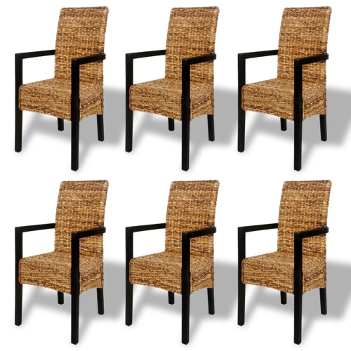 6PCS Handwoven Abaca Dining Chair Set with Armrest