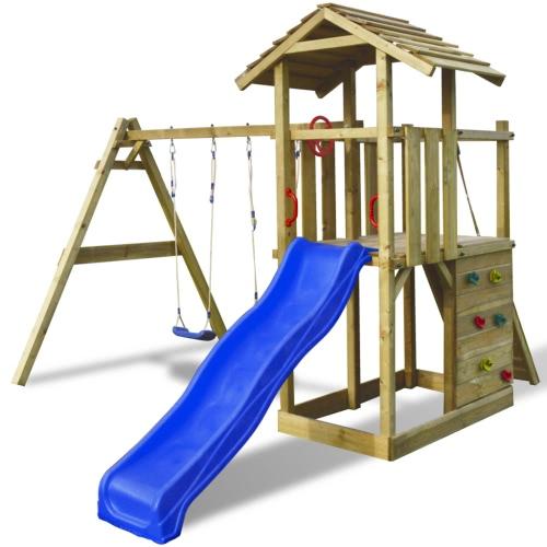 Gra drewniana wieża z drabiną, zjeżdżalnią i huśtawką