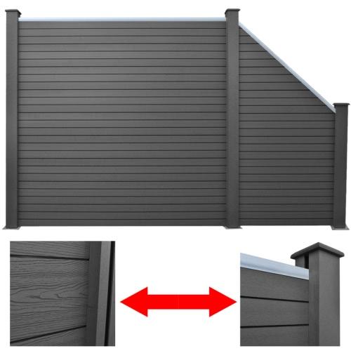 Graues WPC-Zaun-Set 1 x quadratisch + 1 x abgeschrägt 297 cm (1x41554+41555)