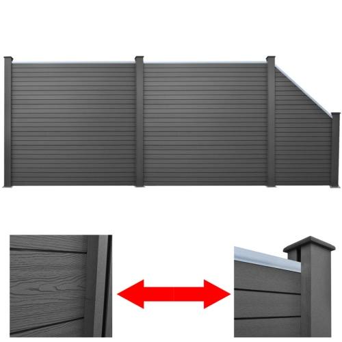 Серый WPC Забор Набор 2 х квадратных + 1 х 488 см со скошенными (2x41554 + 41555)