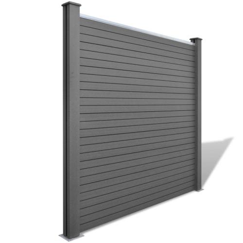 Серый WPC Забор Набор 3 + 1 Площадь Наклонная 679 см
