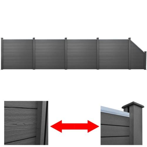 Серый WPC Забор Набор 4 х квадратных + 1 х 870 см со скошенными (4x41554 + 41555)
