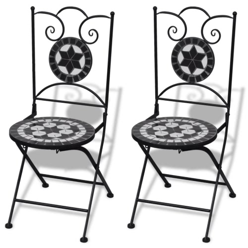 Mosaic Bistro Table 60 cm with 2 Chairs Black / White