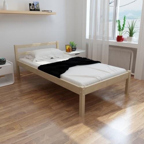 Cama de madera de pino 200 x 90 cm con un colchón de espuma de memoria
