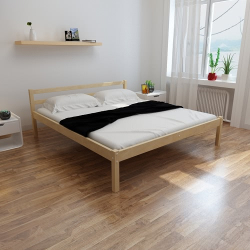 Pine Wood Bed 200 x 180 cm with a Memory Foam Mattress