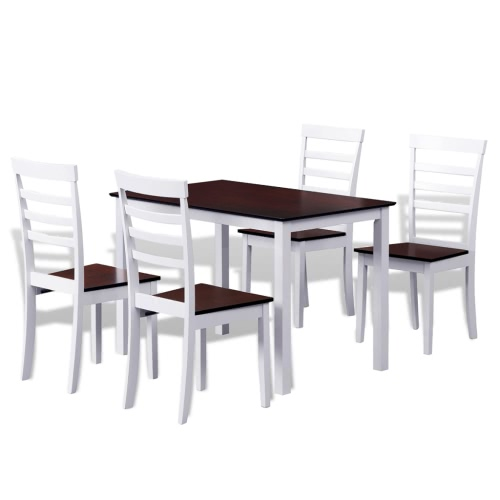 Brown White Solid Wood Dining Table Set with 4 Chairs