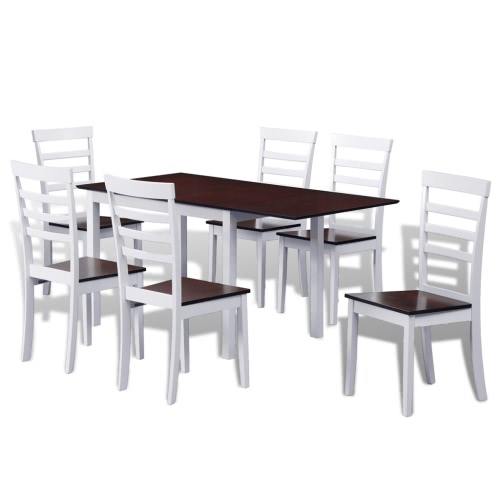 Brown White Solid Wood Extending Dining Table Set with 6 Chairs