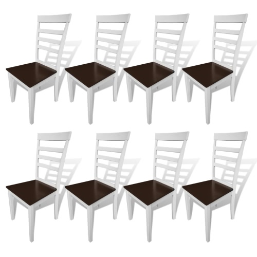 8 pcs Brown White Solid Wood Dining Chairs